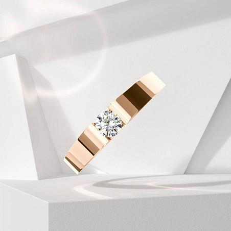 Solitaire Lepage Garçonne en or rose et diamant