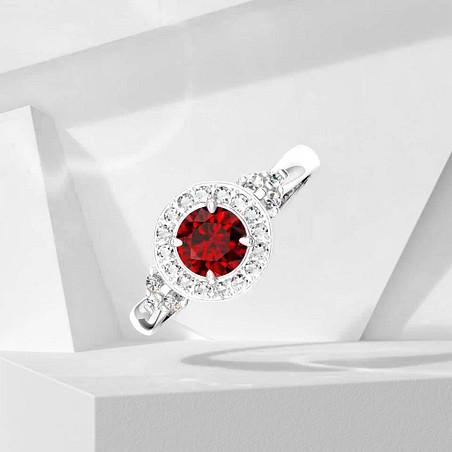 Solitaire Lepage Pompadour en or blanc rubis et diamants