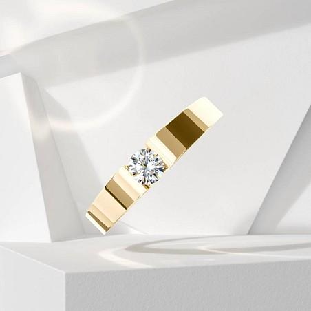 Solitaire Lepage Garçonne en or jaune et diamant