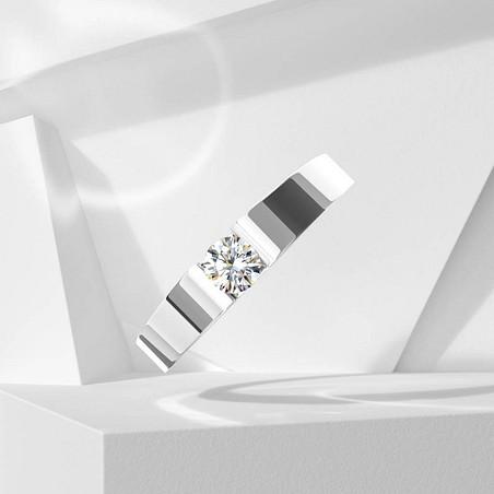 Solitaire Lepage Garçonne en or blanc et diamant