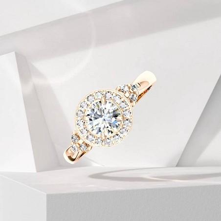 Solitaire Lepage Pompadour en or rose et diamants