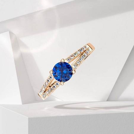 Solitaire Lepage Première Dame en or rose saphir et diamants