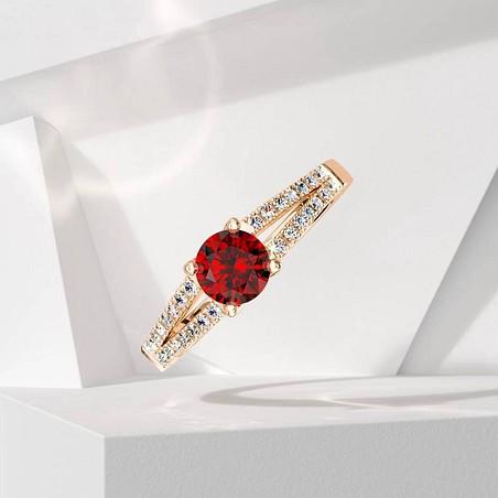 Solitaire Lepage Première Dame en or rose rubis et diamants