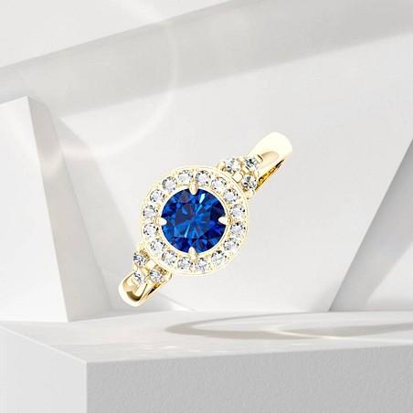 Solitaire Lepage Pompadour en or jaune saphir et diamants