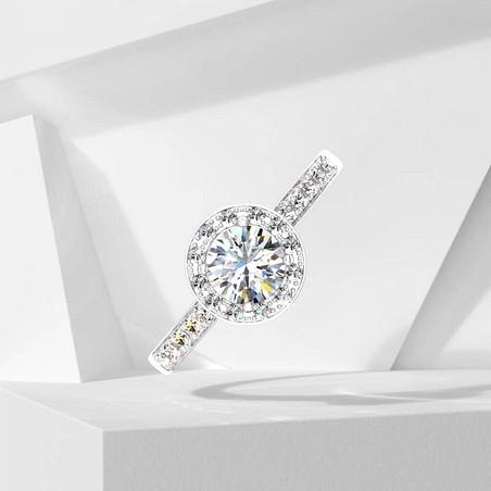 Solitaire Lepage Coquette en or blanc et diamants
