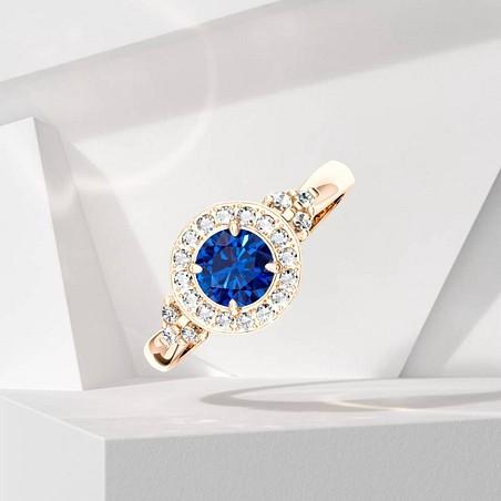 Solitaire Lepage Pompadour en or rose saphir et diamants