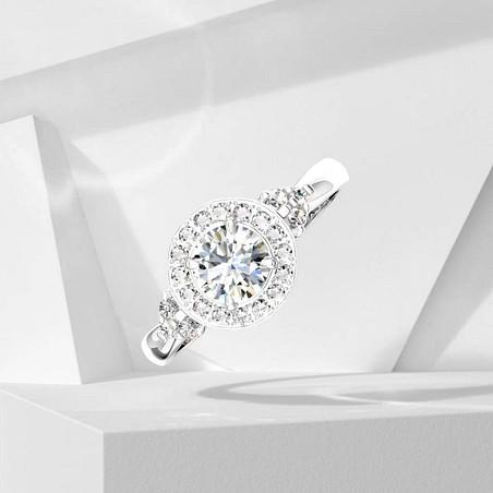 Solitaire Lepage Pompadour en or blanc et diamants