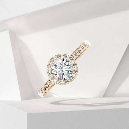 Solitaire Lepage Coquette en or rose et diamants