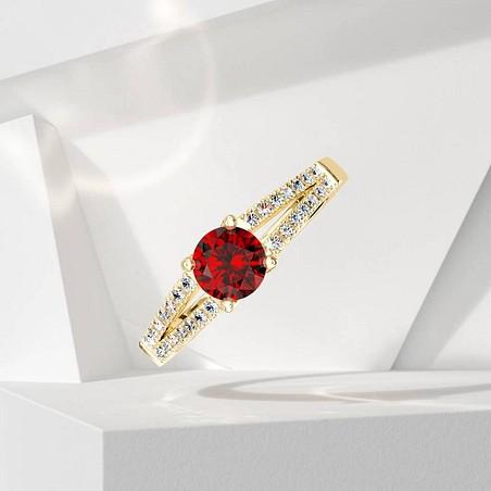 Solitaire Lepage Première Dame en or jaune rubis et diamants