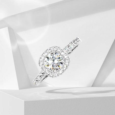 Solitaire Lepage Madame Rose en or blanc et diamants